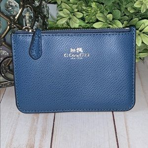Coach blue wallet NEW leather key chain holder